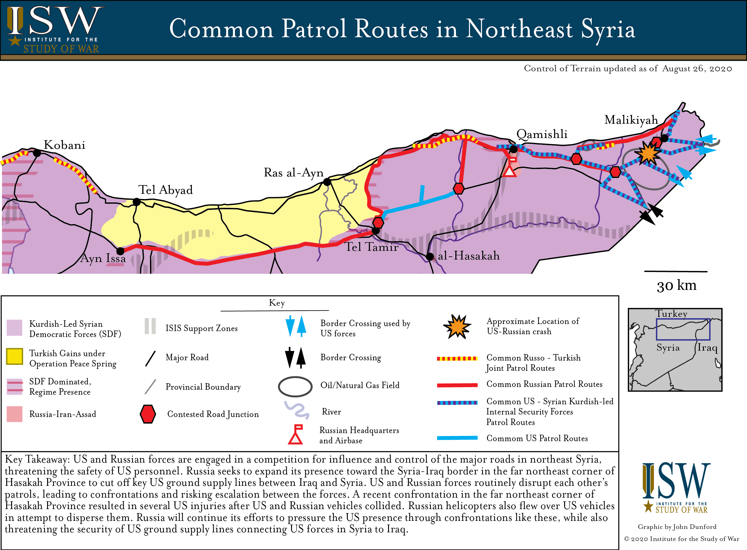 Image of: Northeast Syria Patrol Routes Map Russian And Us Forces Collide Institute For The Study Of War