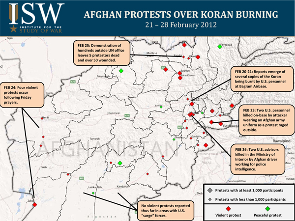 Map of Afghan Protests