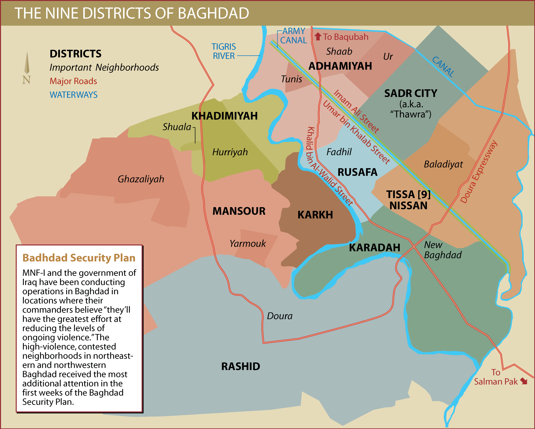 Baghdad City Districts Institute For The Study Of War - Baghdad map world
