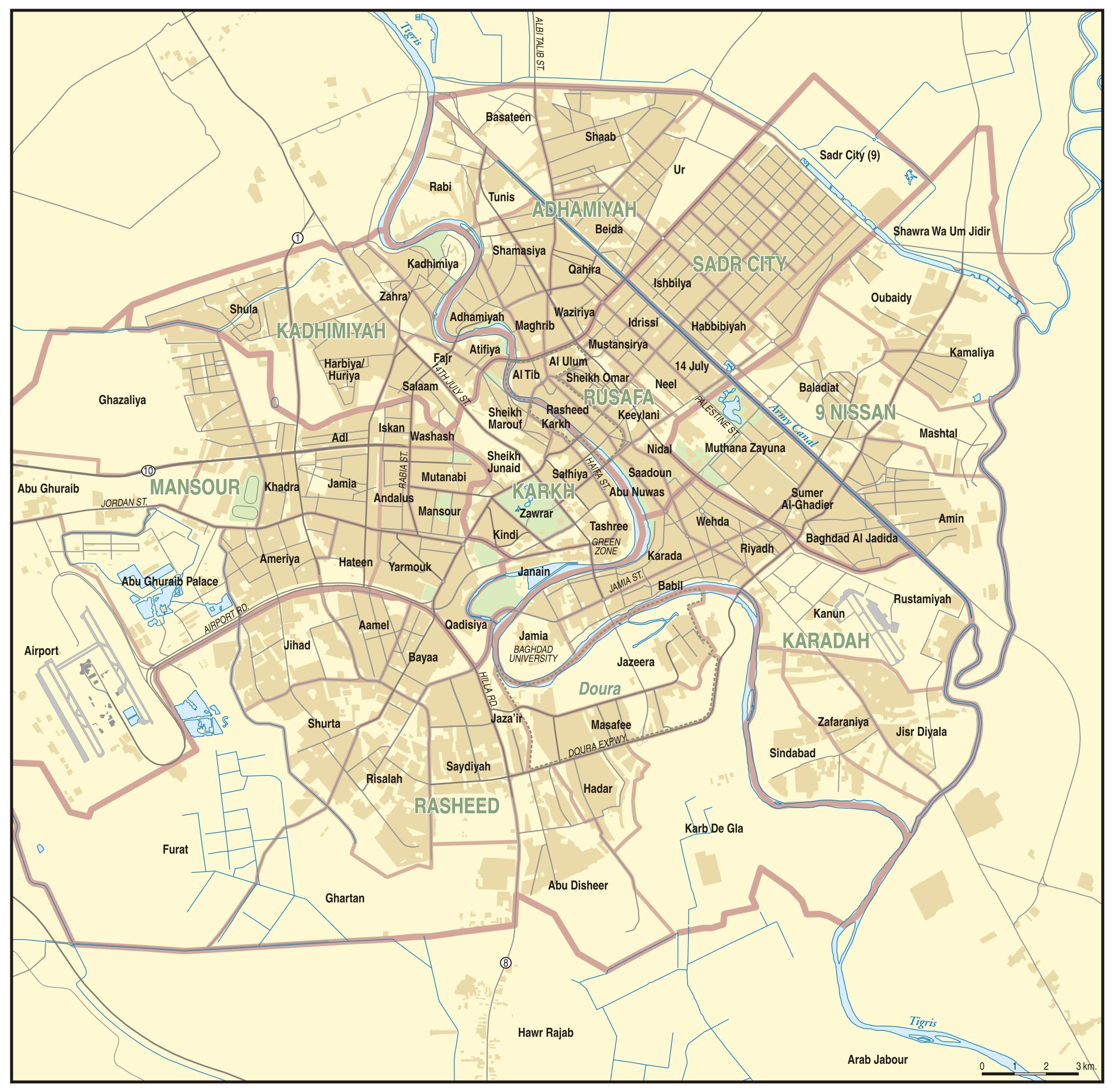 Map of Baghdad | Institute for the Study of War Baghdad City Map