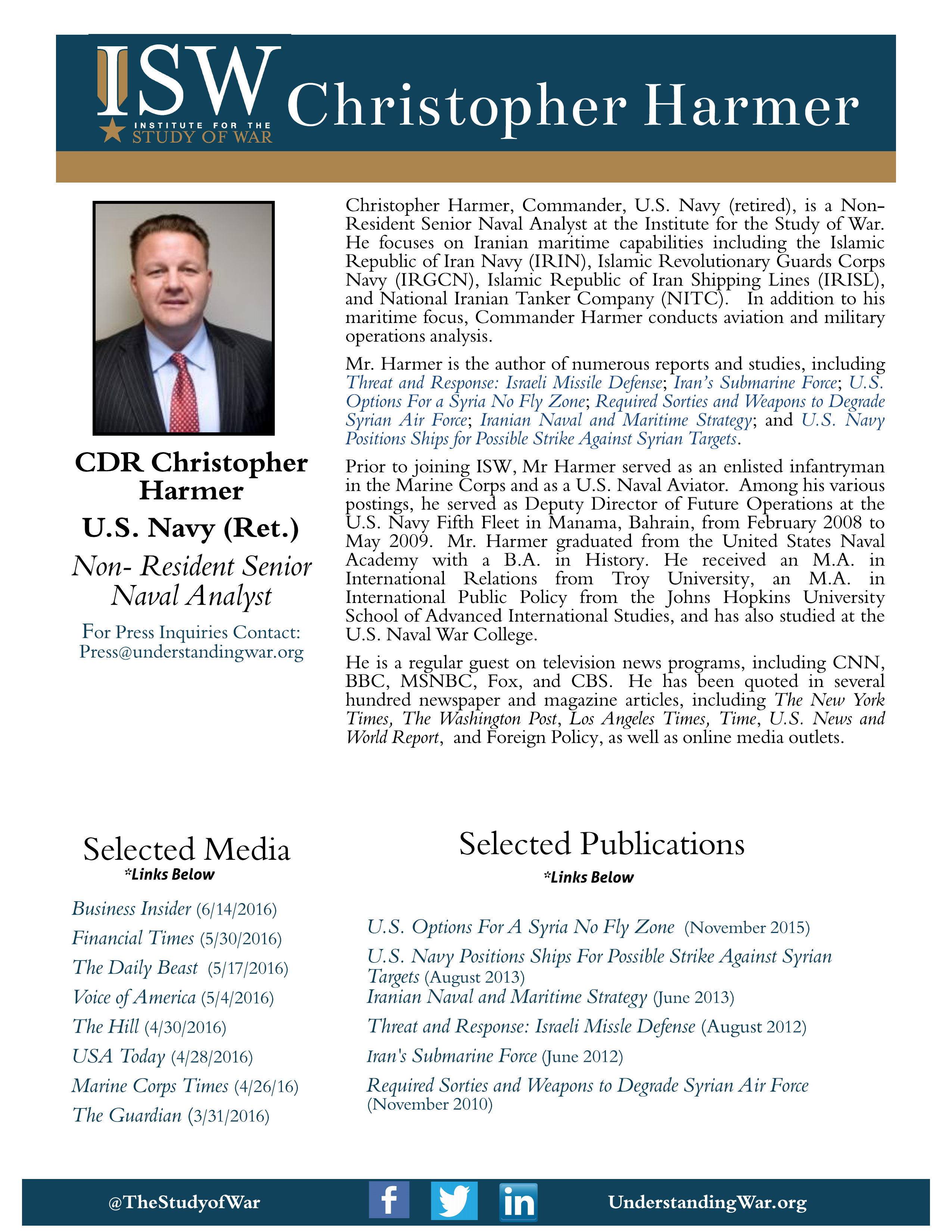 Chris Harmer One Page Bio Institute For The Study Of War