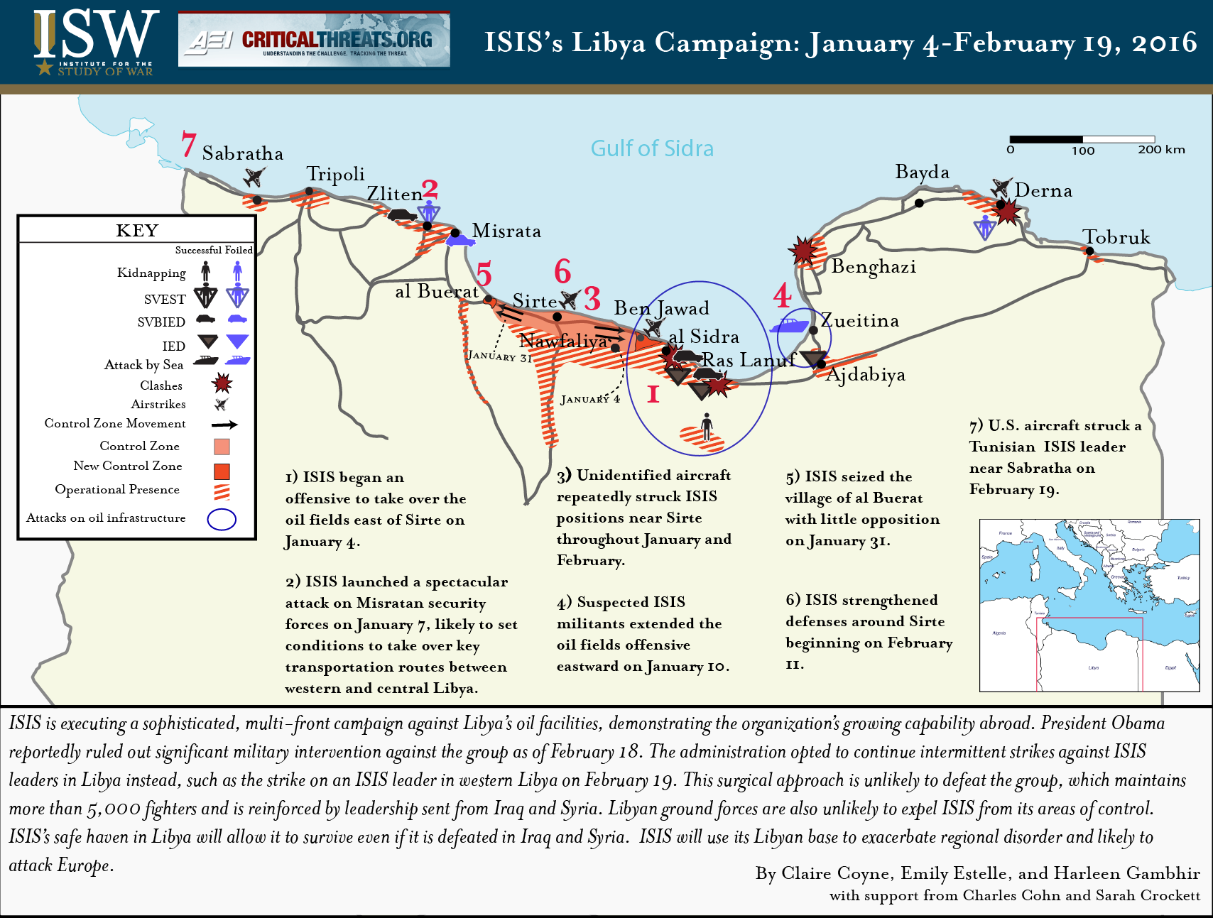 ISISs Campaign In Libya January February   Institute - Isis location map in us