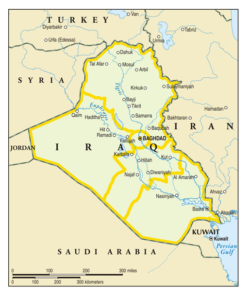 simple map of iraq and its neighbors