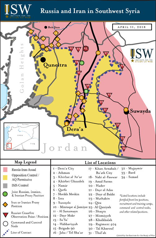 Map: Russia and Iran in Southwest Syria   Institute for the ...