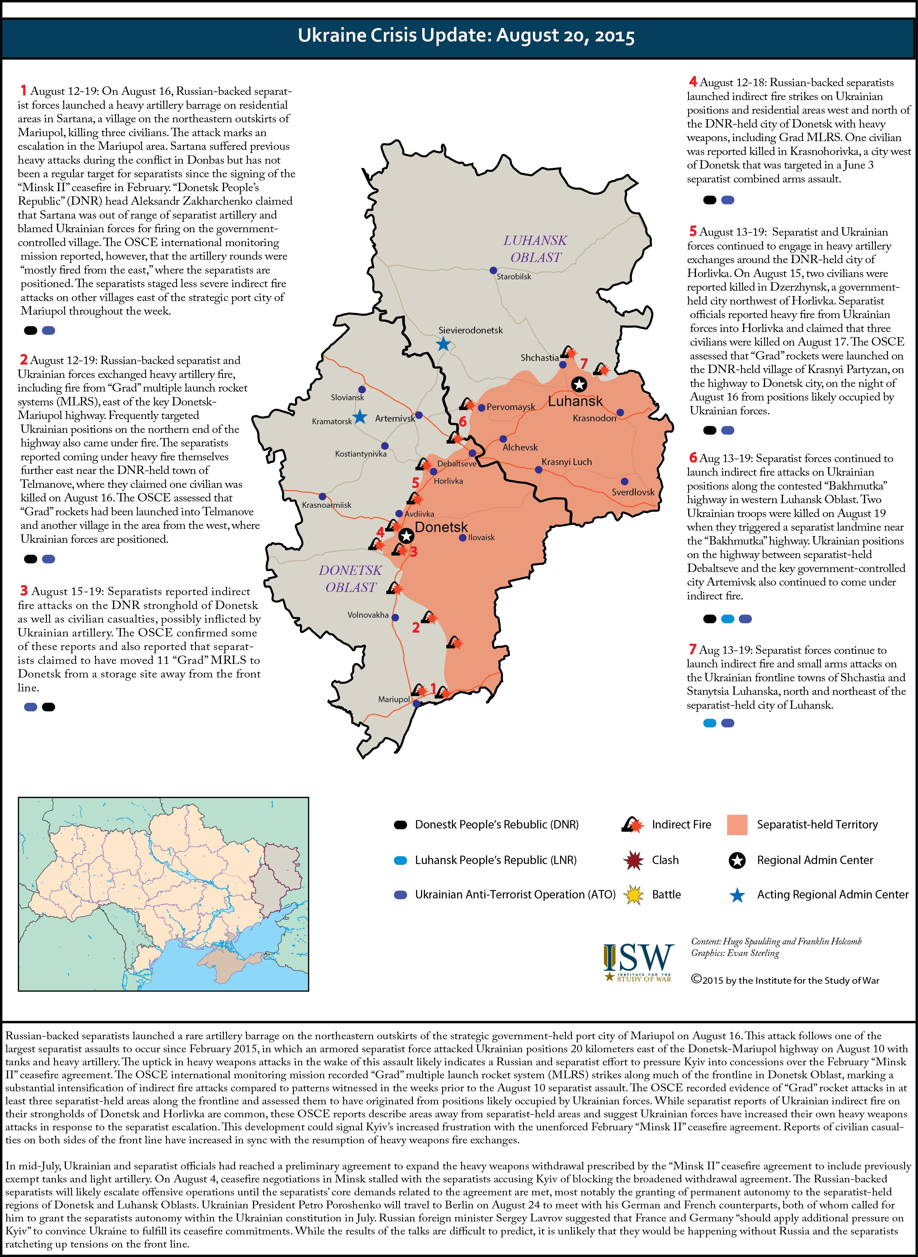 Ukraine crisis update august 20 2015 institute for the study ukraine crisis update august 20 2015 sciox Gallery