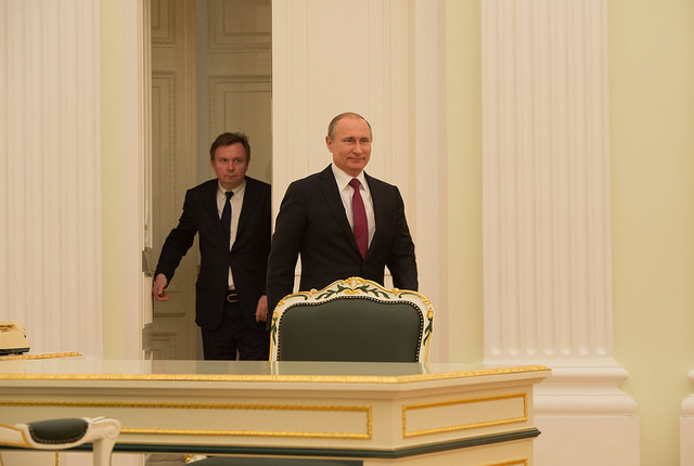Russian President Vladimir Putin arrives for meeting (Department of State)