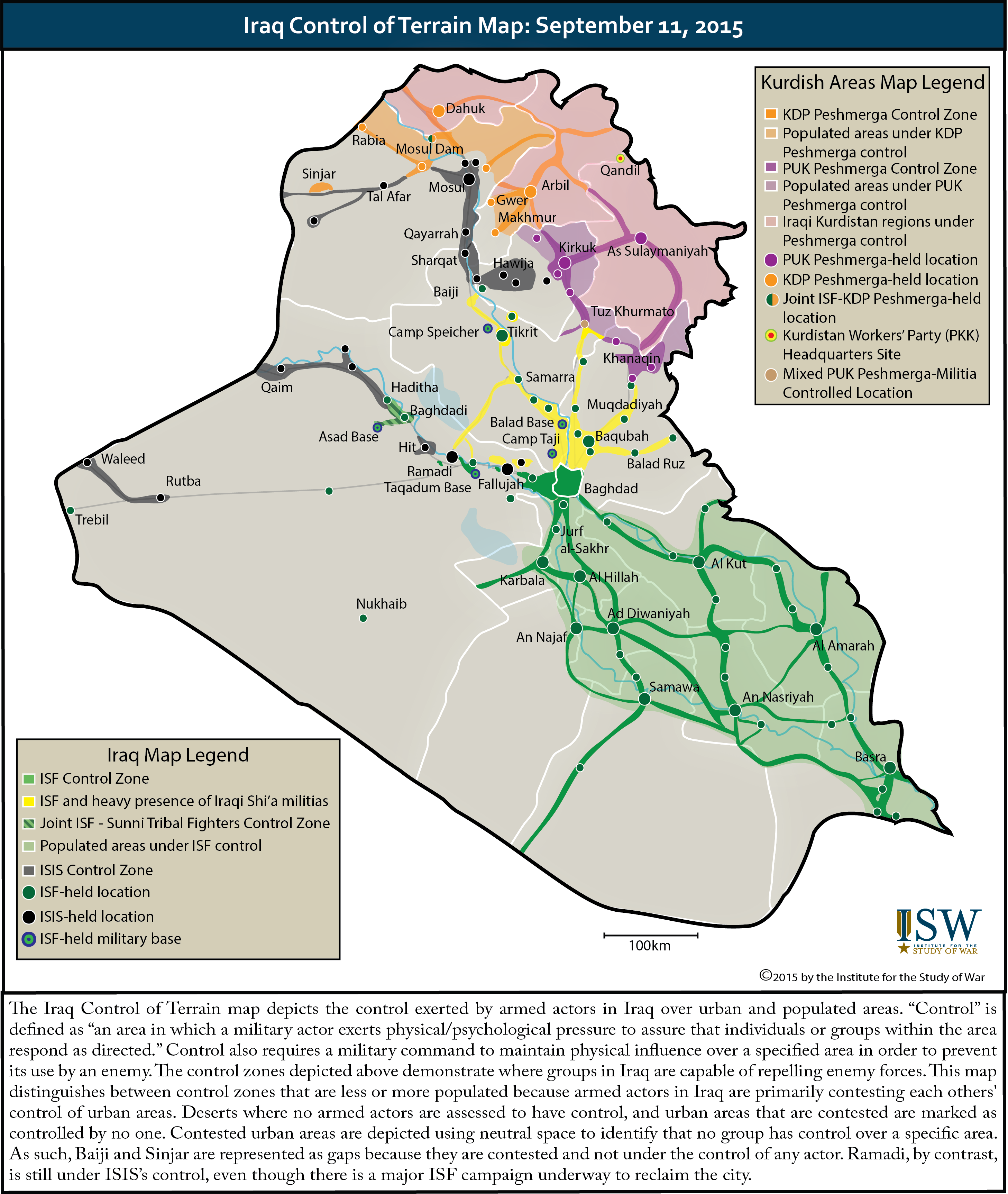 Control of Terrain in Iraq September 11 2015  Institute for the